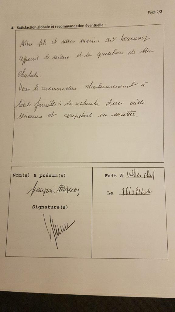 Témoignage de la maman d'Arthur Pour les Cours Particuliers de Maths de M.Chalabi sur Besançon