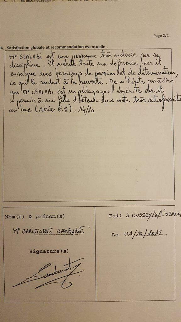 Témoignage du Papa de Pauline Pour les Cours Particuliers de Maths de M.Chalabi sur Besançon
