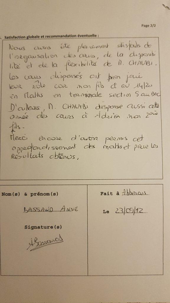 Témoignage de la maman de Alex Pour les Cours Particuliers de Maths de M.Chalabi sur Besançon
